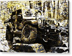 Silver And Gold Jeep Wrangler Jku Acrylic Print