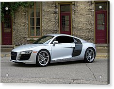 Acrylic Print featuring the photograph Silver Audi R8 by Joel Witmeyer