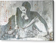 Silver Ballet Dancer Sitting  Acrylic Print