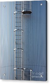 Silver Blue Silo With Steel Ladder. Acrylic Print