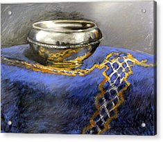 Silver Bowl Acrylic Print by Lenore Gaudet