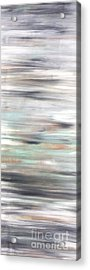 Silver Coast #25 Silver Teal Landscape Original Fine Art Acrylic On Canvas Acrylic Print