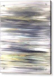 Silver Coast #26 Silver Teal Landscape Original Fine Art Acrylic On Canvas Acrylic Print
