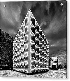 Silver Dice Acrylic Print by Louis Dallara
