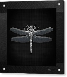 Acrylic Print featuring the digital art Silver Dragonfly On Black Canvas by Serge Averbukh