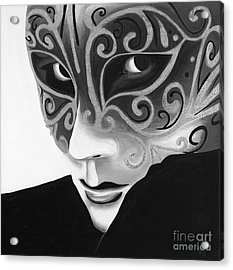 Silver Flair Mask - Bw Acrylic Print by Patty Vicknair