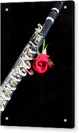 Silver Flute Red Rose Acrylic Print