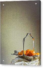 Silver Fruit Basket Acrylic Print by Amanda Elwell