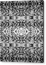 Silver Glow Watercolor Batik Pattern Acrylic Print
