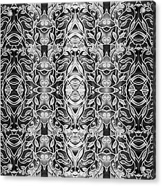 Silver Gray Watercolor Batik Pattern Acrylic Print