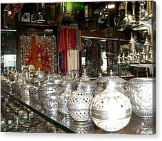 Silver In The Arabian Souq Acrylic Print by Sunaina Serna Ahluwalia