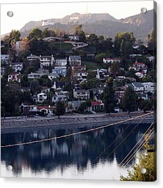 Silver Lake Reservoir And Hollywood Hills Acrylic Print