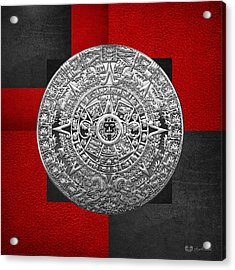 Silver Mayan-aztec Calendar On Black And Red Leather Acrylic Print by Serge Averbukh