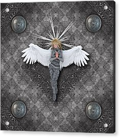 Silver Praying Angel Acrylic Print by Charm Angels