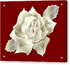 Acrylic Print featuring the digital art Silver Rose Graphic by MM Anderson