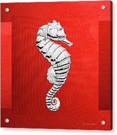 Silver Seahorse On Red Canvas Acrylic Print