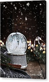 Acrylic Print featuring the photograph Silver Snow Globe by Stephanie Frey