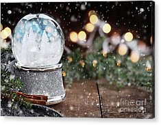 Acrylic Print featuring the photograph Silver Snow Globe With White Christmas Trees by Stephanie Frey