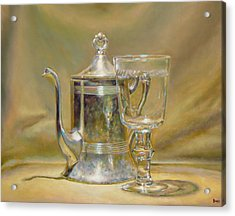 Silver Teapot And Glass Acrylic Print by Jeffrey Hayes