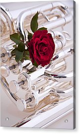 Silver Tuba With Red Rose On White Acrylic Print by M K  Miller