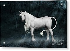 Silver Unicorn Standing In Miisty Forest Acrylic Print
