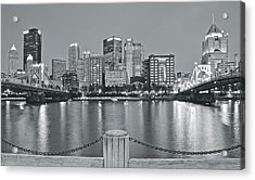 Silvery Lights In Pittsburgh Acrylic Print
