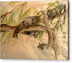Acrylic Print featuring the painting Simian And Beetle by Debbi Saccomanno Chan