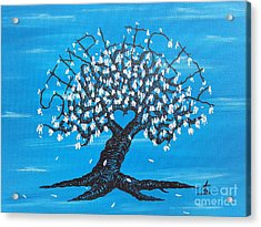 Acrylic Print featuring the drawing Simplicity Love Tree by Aaron Bombalicki