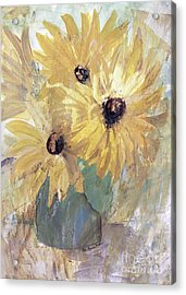 Acrylic Print featuring the painting Simply Sunflowers  by Robin Maria Pedrero