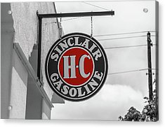 Sinclair Gasoline Round Sign In Selective Color Acrylic Print