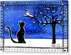 Sing For Me - Black Cat Card Acrylic Print