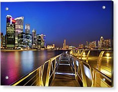 Acrylic Print featuring the photograph Singapore - Marina Bay by Ng Hock How