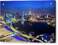 Singapore - View From Marina Bay Sands Acrylic Print by Ng Hock How