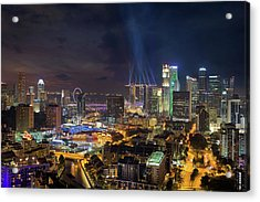Singapore City Lights Acrylic Print by David Gn