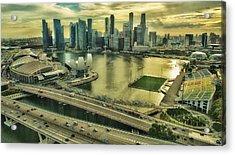 Singapore City On The Move Acrylic Print by Paul W Sharpe Aka Wizard of Wonders