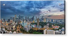 Singapore Cityscape At Sunset Acrylic Print by David Gn