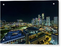 Singapore Modern Skyline By The River At Night Acrylic Print by David Gn
