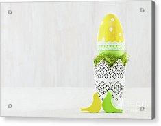 Single Easter Egg In A Pot. Acrylic Print