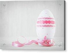 Single Easter Egg On Wooden Table. Decoupage Art Acrylic Print
