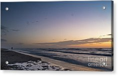 Single Man Walking On Beach With Sunset In The Background Acrylic Print