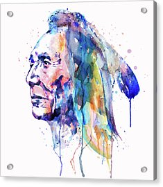 Sioux Warrior Watercolor Acrylic Print by Marian Voicu
