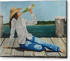Sippin' On The Dock Of The Bay Acrylic Print by Patricia DeHart