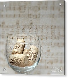 Sipping Wine While Listening To Music Acrylic Print