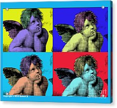 Sisteen Chapel Blue Cherub Angels After Michelangelo After Warhol Robert R Splashy Art Pop Art Print Acrylic Print by Robert R Splashy Art