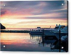 Sister Bay Marina At Sunset Acrylic Print