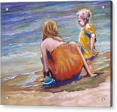Sisters Enjoy The Shore Acrylic Print by Carole Haslock