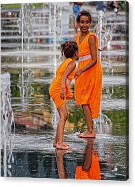 Sisters In The Waterpark Acrylic Print