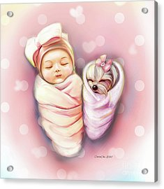 Sisters Nap Time Acrylic Print by Catia Cho