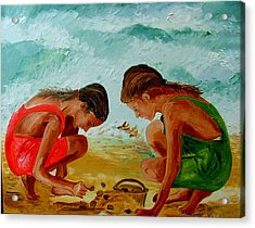 Sisters On The Beach Acrylic Print by Inna Montano