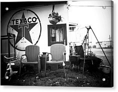 Sitting At The Texaco Black And White Acrylic Print